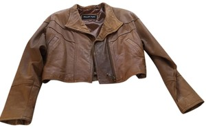 North Pole Crop Zipper Detail Cognac/Whiskey Leather Jacket
