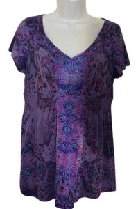 One World Live and Let Live Dressy Casual Top Lavender, Purple and Blue