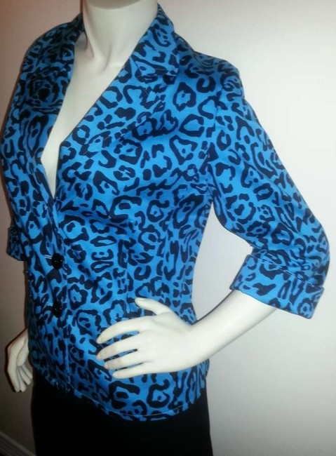 Linea by Dell'Olio Teal with black animal print Blazer