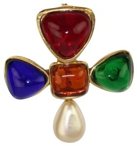 Chanel Gripoix Multicolor Stone & Pearl Brooch CCEGR03