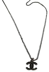 Chanel Chanel Black Crystal CC Necklace CCAV399