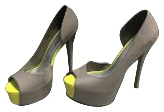 ShoeDazzle Dazzle Open Toed Stiletto High Heel Grey and Yellow Pumps