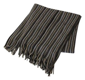 Unisex Blue & Gray Stripes Scarf w/ Fringes