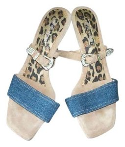 Nine West Crystal Studded Buckle Nude/Denim Sandals