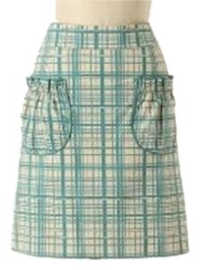 Anthropologie Retro Knee Length Checkered Skirt Green / Beige
