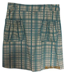 Anthropologie Retro Checkered Plaid New With Tags Skirt Green / Beige