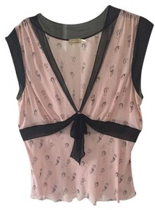 Max Studio Silk Sheer Top Light pink and black