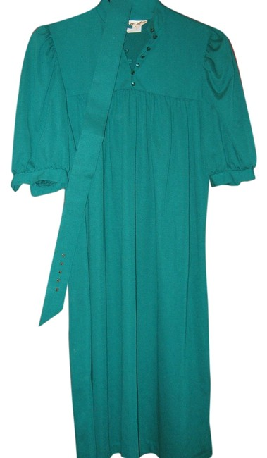 Teal Vintage Belted Mid-length Short Casual Dress Size 6 (S) Teal Vintage Belted Mid-length Short Casual Dress Size 6 (S) Image 1
