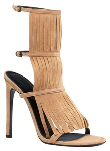 Gucci Suede Fringe High Heel Biege Sandals