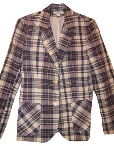 Prestige Vintage White w/navy blue plaid design Blazer