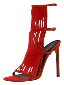 Gucci Suede Fringe High Heel Red Sandals