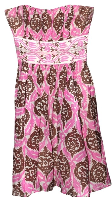 Anthropologie Multicolor Ikat Tribal Silk Cotton Blend Fit and Flare Strapless Frock Mid-length Short Casual Dress Size 2 (XS) Anthropologie Multicolor Ikat Tribal Silk Cotton Blend Fit and Flare Strapless Frock Mid-length Short Casual Dress Size 2 (XS) Image 1