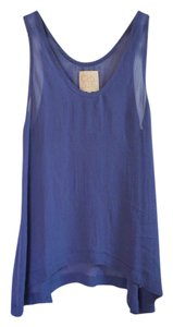 Chaser Sheer Flowy Rare Sold Out Chiffon Top Blue