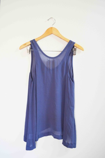 Chaser Sheer Flowy Rare Sold Out Chiffon Top Blue Image 1