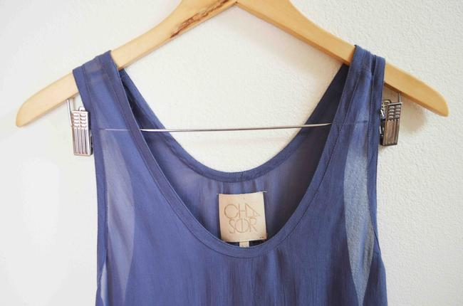 Chaser Sheer Flowy Rare Sold Out Chiffon Top Blue Image 2