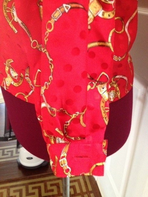 Cardiere Et Cie Chic Vintage Button Down Shirt Red