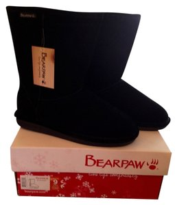 Bearpaw Cow Suede Upper Wool Blend Lining Sheepskin New With Tags Black Boots