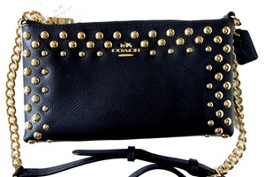 Coach Crossgrain Leather Studded Chain Leather Strap Cross Body Bag