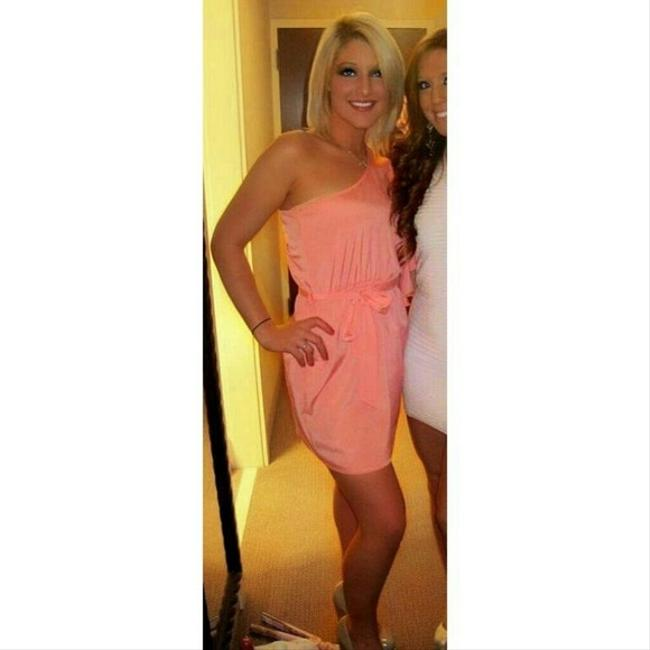 Other short dress Coral One Shoulder Summer Ruffle Fun on Tradesy