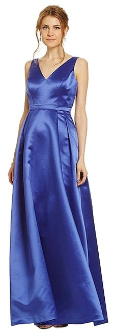 Adrianna Papell Blue Sleeveless Satin Gown Long Formal Dress Size 10 (M) Adrianna Papell Blue Sleeveless Satin Gown Long Formal Dress Size 10 (M) Image 1