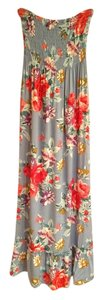 Blue floral with red and purple flowers Maxi Dress by Timing