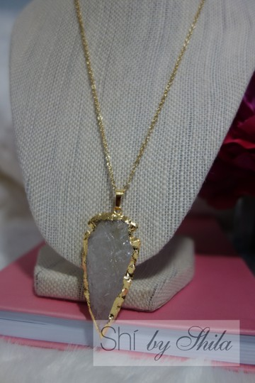 """Other """"Lucia"""" raw crystal quartz arrowhead dipped in 24k Gold"""