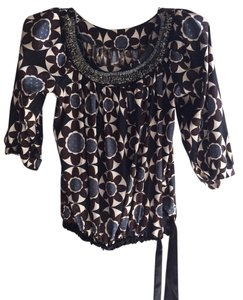 Les Folies d'Harry Beaded Trim Unique Top Brown, blue, black