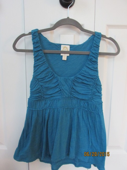 Anthropologie Ruffled Fitted Layered Empire Shirred Top Deep Turquoise