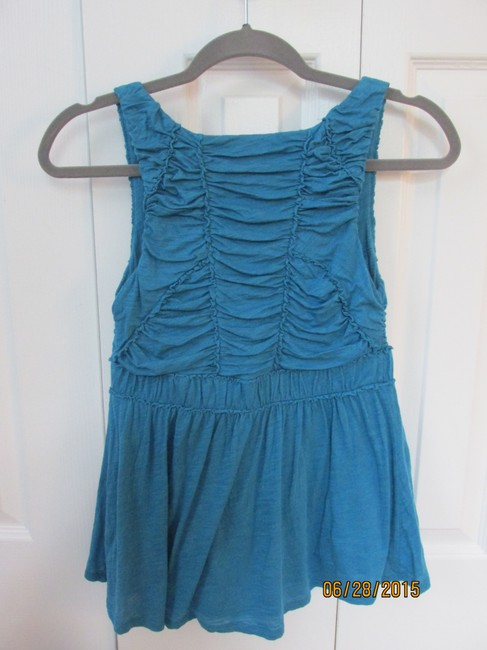 Anthropologie Ruffled Fitted Layered Empire Shirred Top Deep Turquoise Image 2