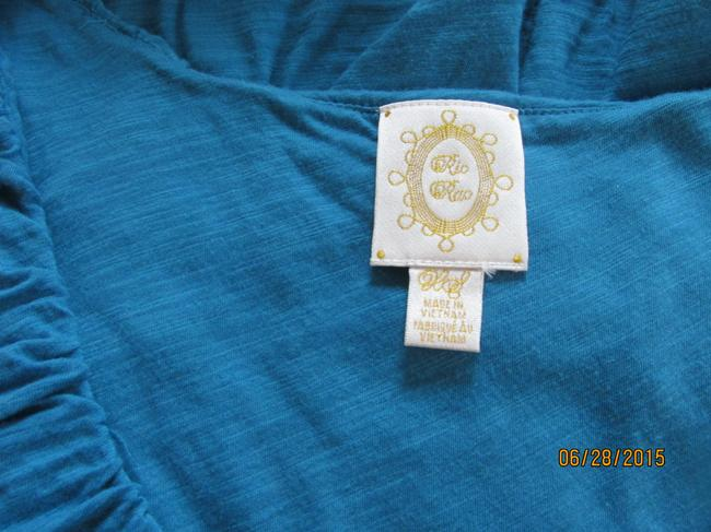 Anthropologie Ruffled Fitted Layered Empire Shirred Top Deep Turquoise Image 3