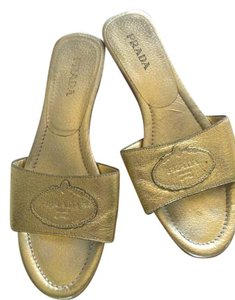 Prada Metallic Gold Sandals