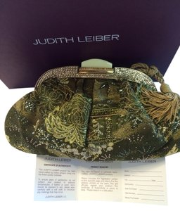 Judith Leiber Green silk w/ crystals Clutch
