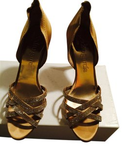 Pedro Garcia Strappy Open Toe Satin Sequince Gold Formal