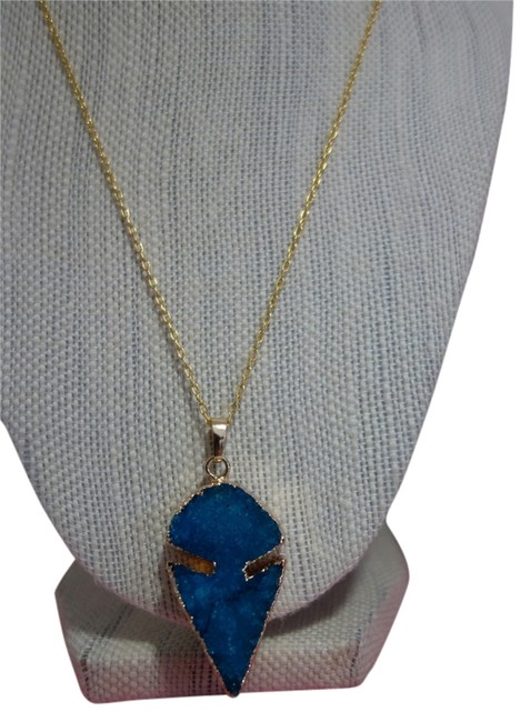 "Natural Druzy Stone Blue ""Odelia"" Crystal Necklace Natural Druzy Stone Blue ""Odelia"" Crystal Necklace Image 1"