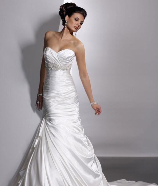 Item - Ivory White Satin Adorae Wedding Dress Size 6 (S)