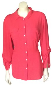 Ann Taylor LOFT Button Down Shirt Coral
