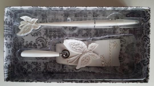 Wedding Party Cake Serving Set Knife And Server Butterfly Handle + Butterfly Pen Stand Set