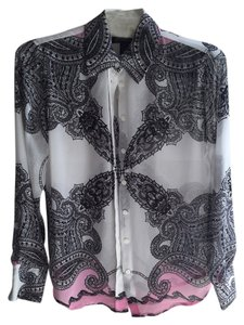 INC International Concepts Blouse Size 4 Button Down Shirt Paisley black, white, pink