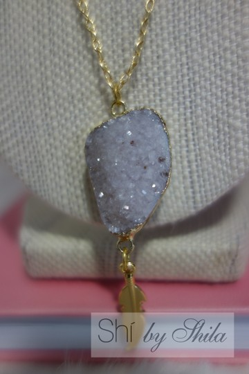 "Other ""Ellis"" Natural Crystal Druzy necklace"