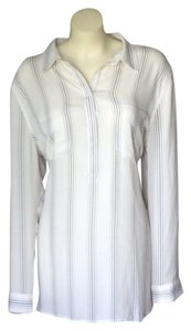 Ann Taylor LOFT Button Down Shirt White/Navy