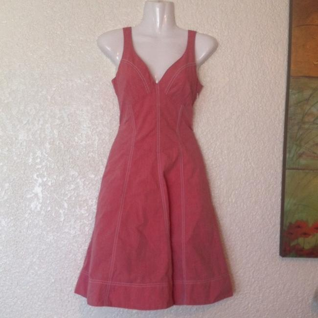 Anthropologie short dress Pink Maeve Red Contrast Stritching Back Summer Country Girl on Tradesy