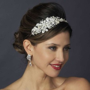 Elegance by Carbonneau Silver Pearl and Crystal Headband Hair Accessory