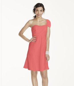 David's Bridal Coral Reef One Shoulder Crinkle Chiffon F15917 Dress