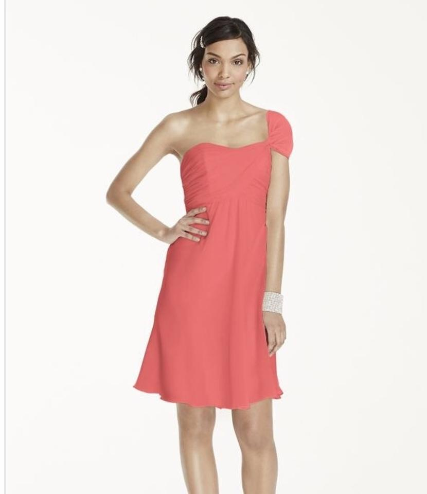 2cab7e6c266 David s Bridal Coral Reef Crinkle Chiffon One Shoulder F15917 Traditional  Bridesmaid Mob Dress