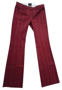 The Limited Trouser Pants Maroon with black and white pinstripes
