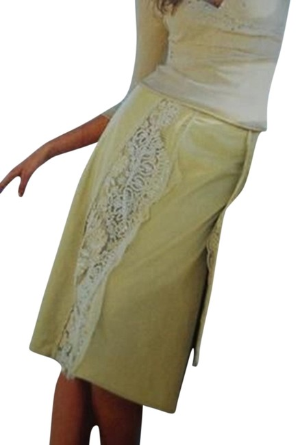 Anthropologie Beaded A-line Lace Skirt yellow
