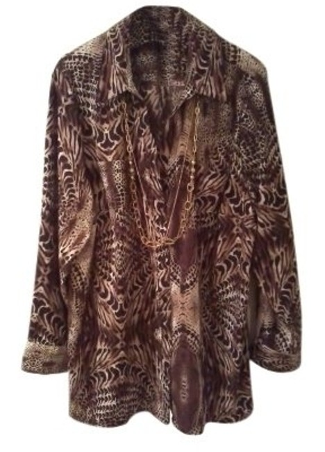 Maggie Barnes Top Brown Animal Print