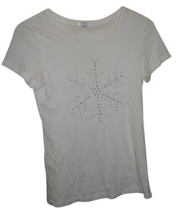 JVL Studded Snowflake Casual T Shirt White
