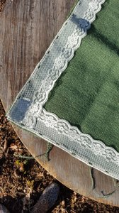 Green & Ivory Lace Burlap Piece