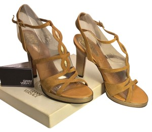 Versace Suede Leather Gold Heels Open Toe Platform Slingback Tan/Gold Sandals